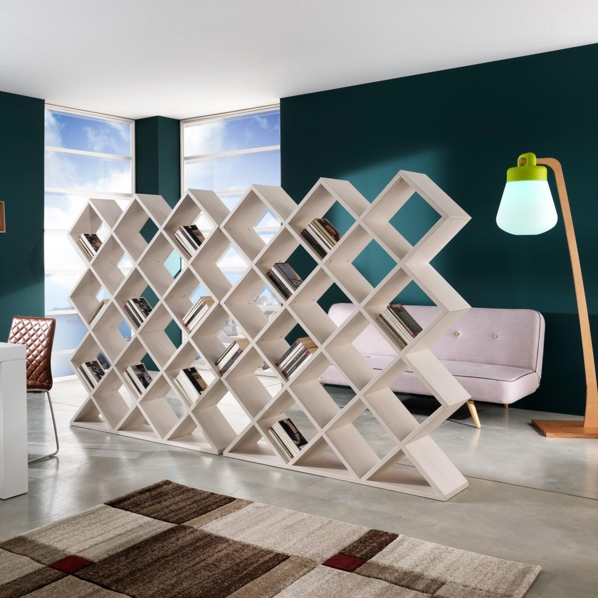 Libreria separa ambienti mynest in legno bianco 140 x 160 cm - Libreria parete divisoria ...