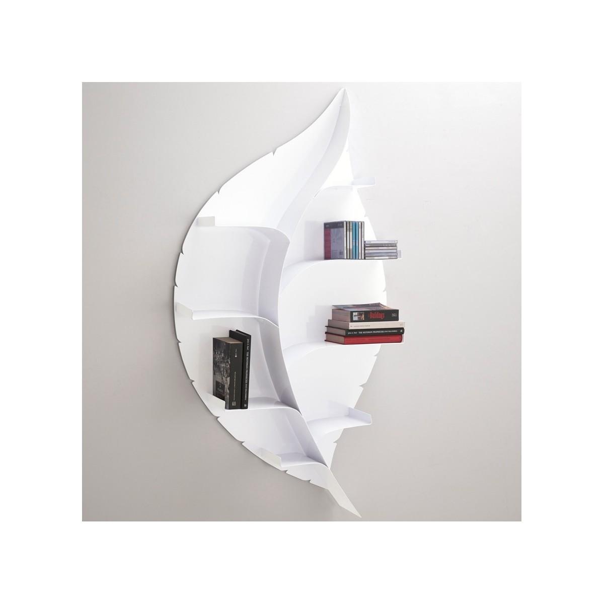 Foglia libreria a parete design moderno in metallo bianca for Libreria sospesa a muro