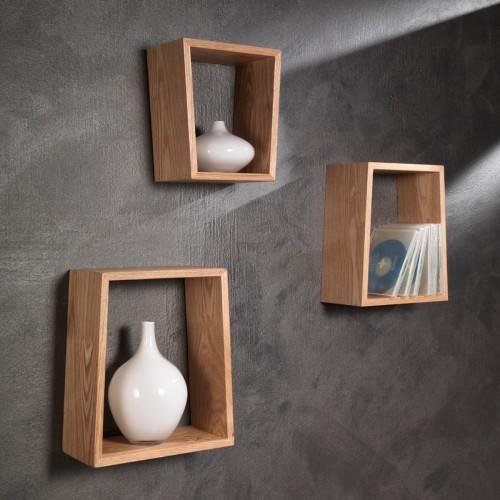 Set di tre mensole Trapezio a muro in legno naturale