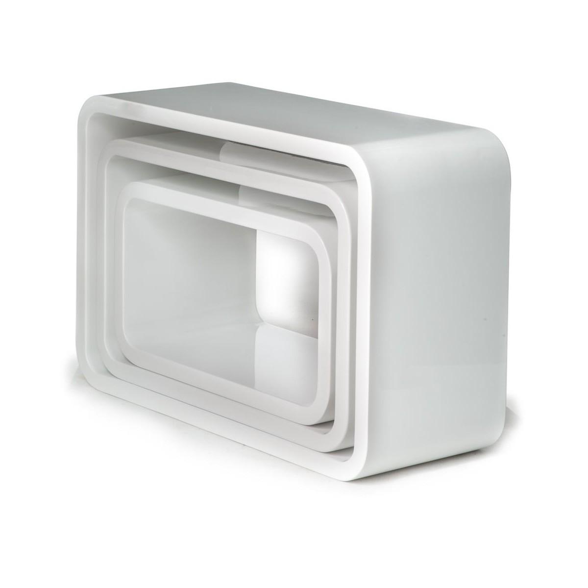 Set 3 cubi kuadra da parete mensole rettangolari per arredo for Cubi in legno per arredare