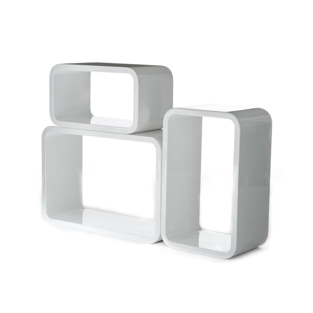 Set 3 cubi kuadra da parete mensole rettangolari per arredo for Cubi mensole
