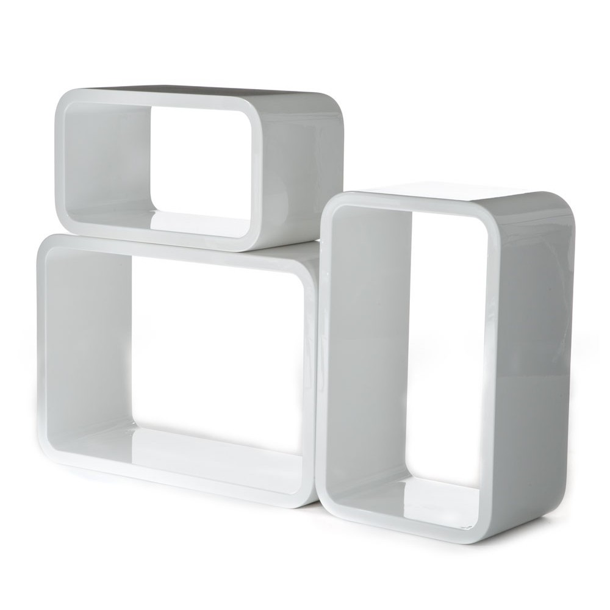 set 3 cubi kuadra da parete mensole rettangolari per arredo