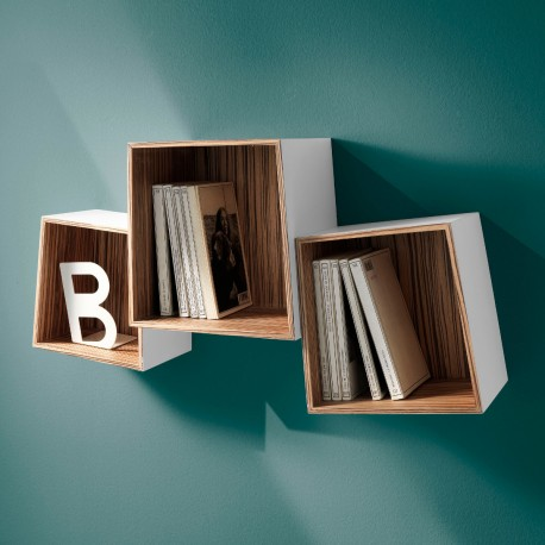 Set di 3 cubi mensola triade in legno mdf bianco opaco for Cubi in legno arredamento