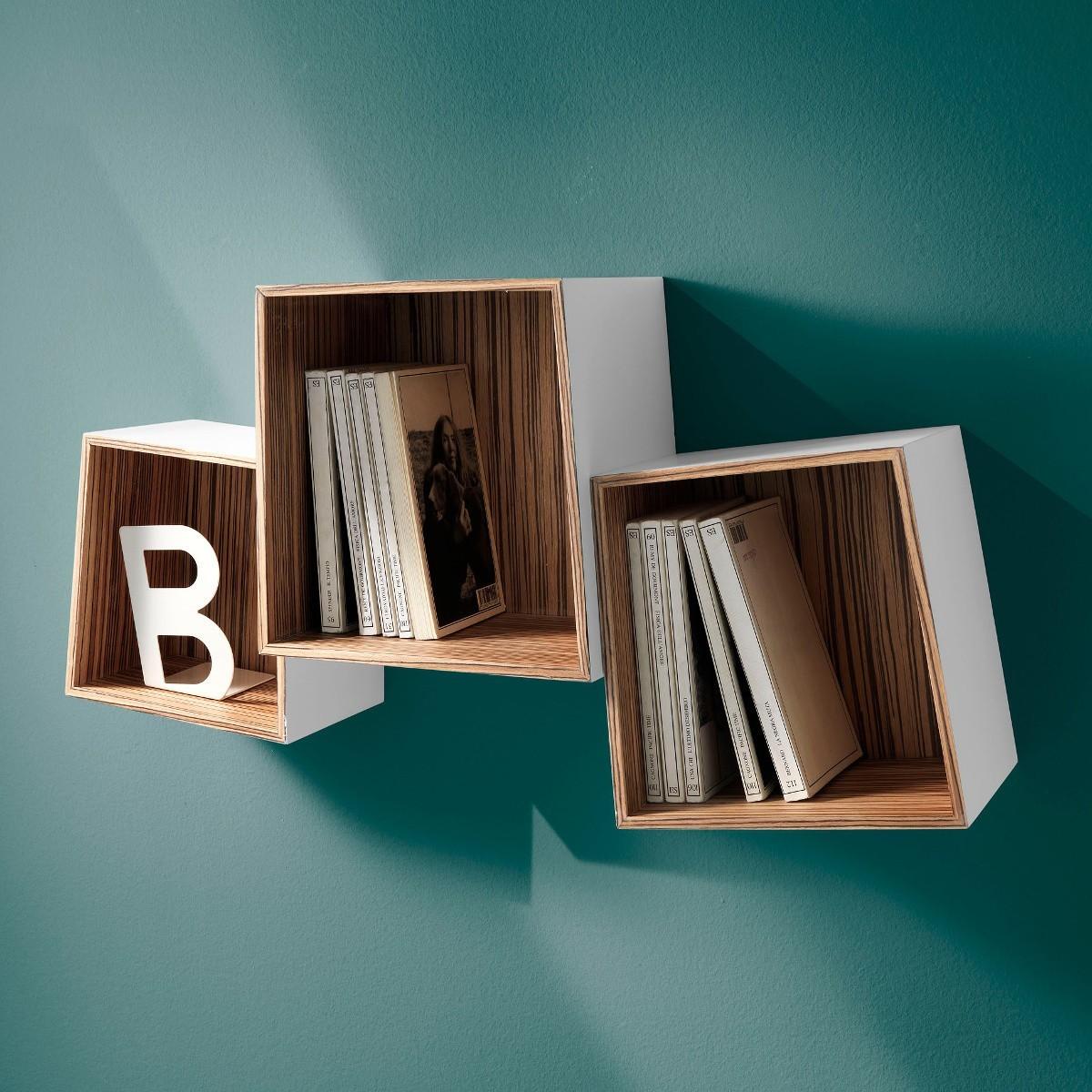 Set di 3 cubi mensola trapeziow in legno mdf bianco opaco for Cubi mensole