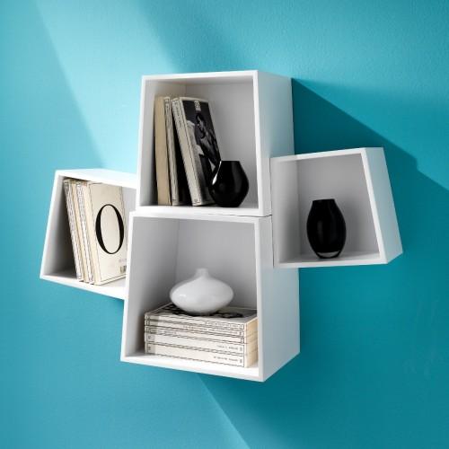 Set di 4 cubi da parete rocket mensole in legno mdf bianco for Mensole legno bianco