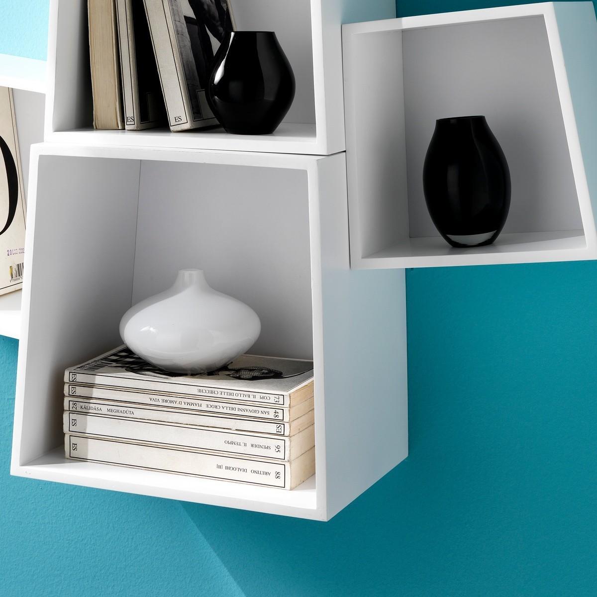 Set di 4 cubi da parete beryl mensole in legno mdf bianco for Mensole legno bianco