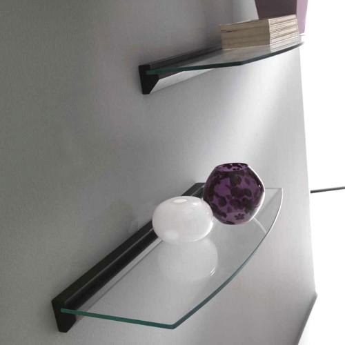 Coppia di mensole Avalon in vetro e legno 60 cm