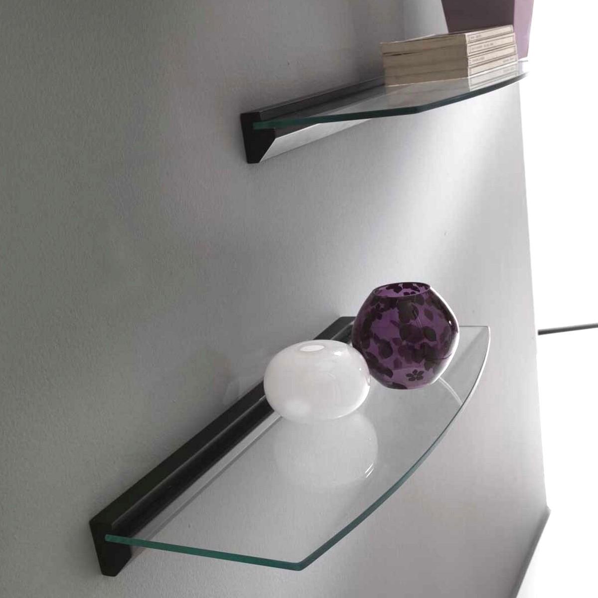 Coppia di mensole avalon in vetro e legno 60 cm - Mensole in vetro per soggiorno ...