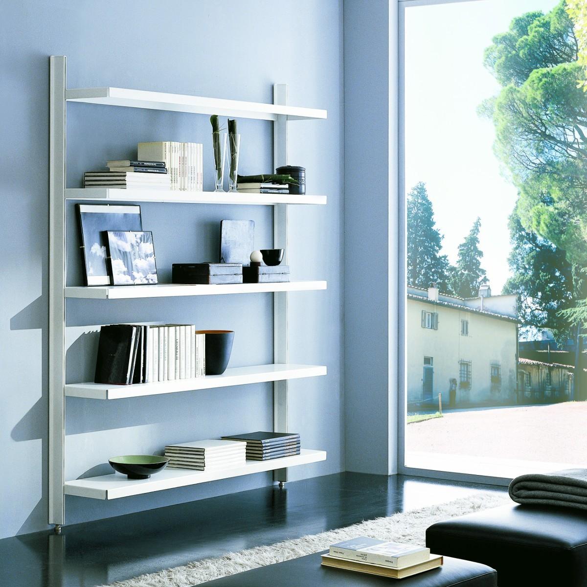 Scaffale metallico brody da parete in acciaio bianco 125 x for Librerie in legno componibili