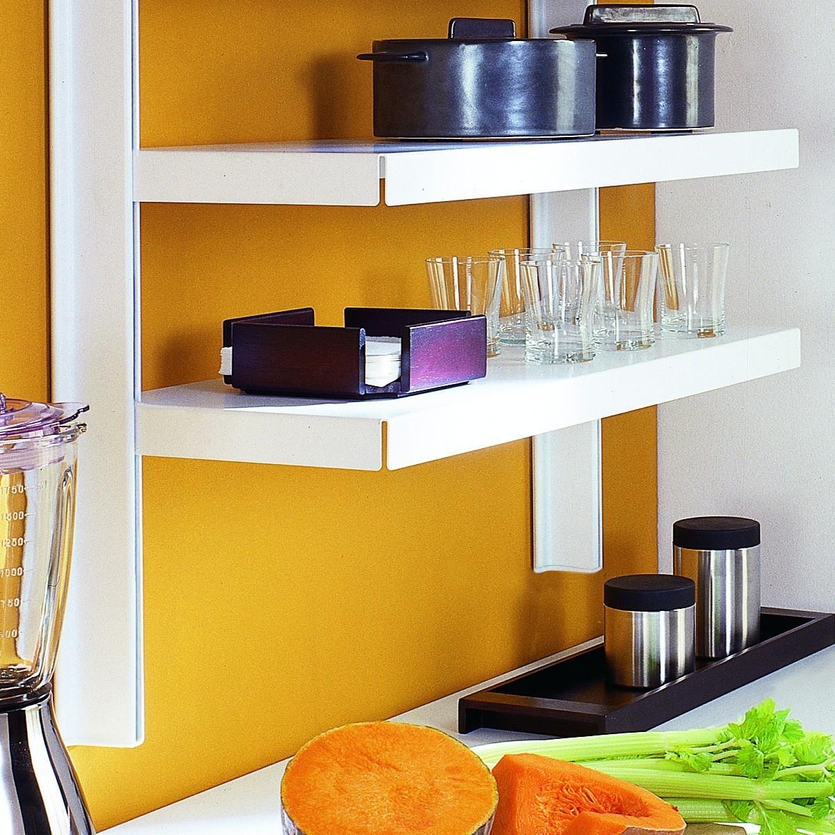 Scaffale da parete declan in acciaio bianco 85 x 32 x h106 cm - Scaffale cucina ...