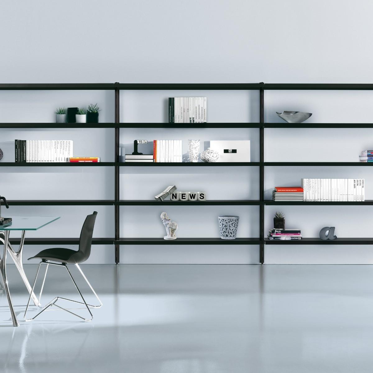 Scaffale in metallo Viggo da parete per soggiorno 485 x 32 x h203 cm