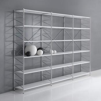 Mobili libreria componibili in metallo e legno dal design for Scaffali per ufficio acciaio