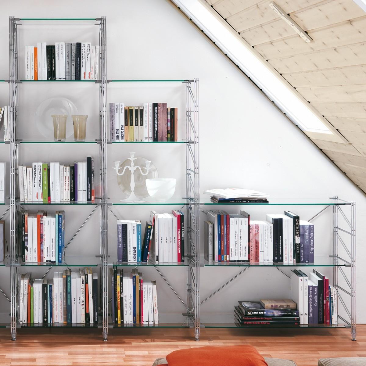 Teodor libreria per mansarda in acciaio e vetro 365 x 35 x h86/162/200 cm