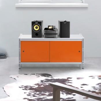 Astryd scaffale basso in metallo con ante scorrevoli 100 x 45 x h47 cm