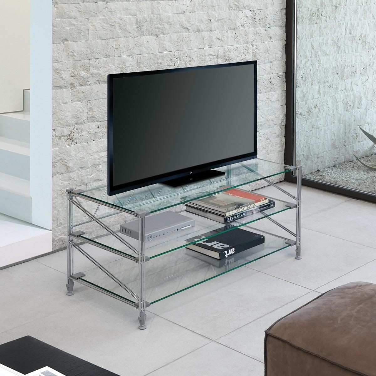 Tilde scaffale porta tv in acciaio ripiani in vetro 100 x - Mobili porta tv in vetro ...