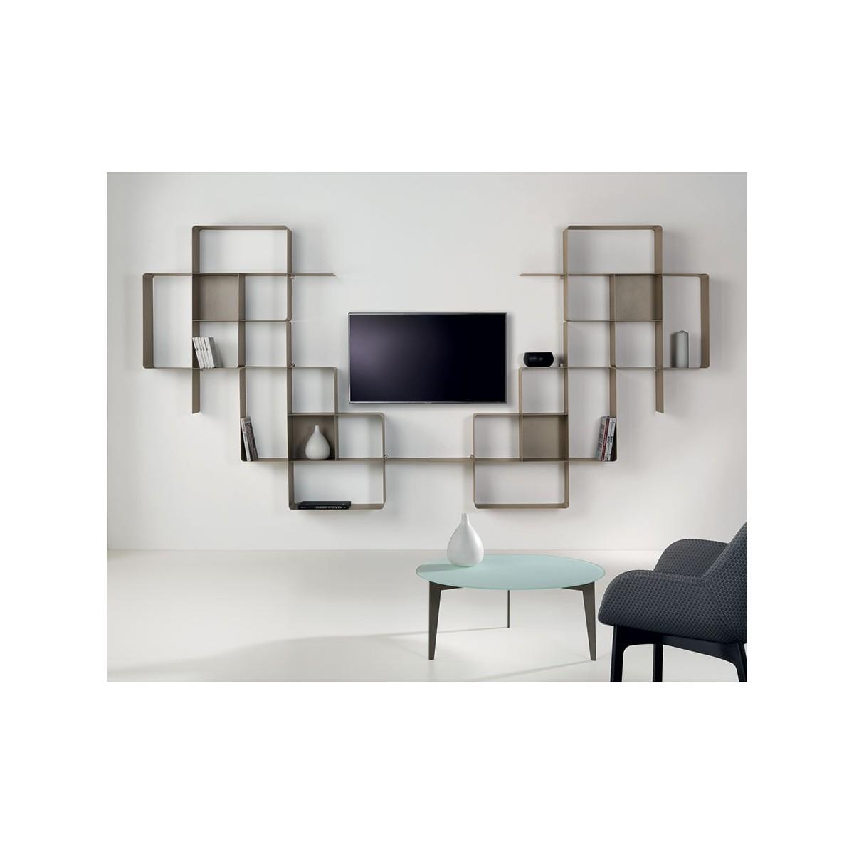 Mondrian libreria a parete moderna in metallo componibile for Ikea mensole acciaio