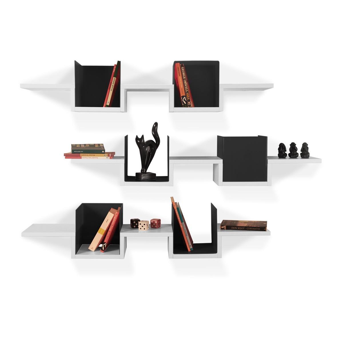 Triplete tris di mensole a muro in legno e metacrilato 120 cm