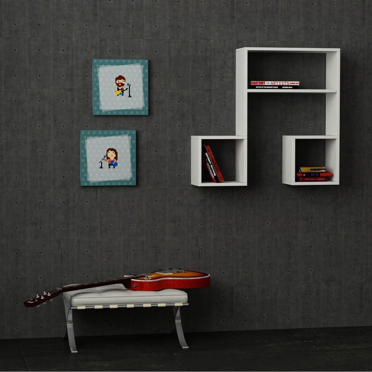 Parete Soggiorno 180 : Sounds libreria da parete in legno bianco nero rosso