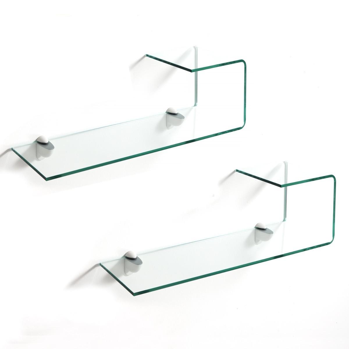 Pickup coppia mensole in vetro curvato spessore 10 mm lunghezza 75 cm - Mensole in vetro per soggiorno ...