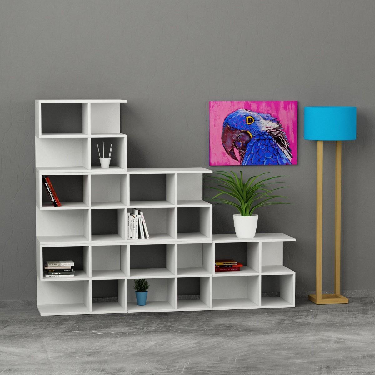 Premiere libreria da soggiorno in legno a forma di scala