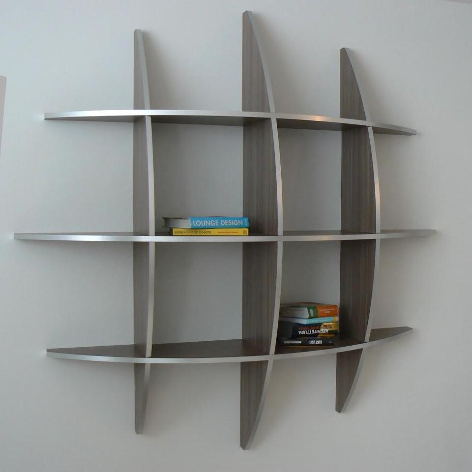 Libreria Guidus170 rotonda da parete in legno Wenghè chiaro
