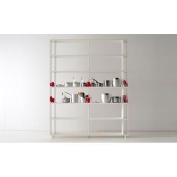Scaffalatura modulare P-A6 per ufficio in legno bianco 200x30x250 cm