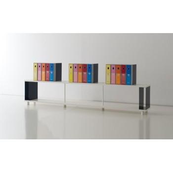 Scaffale componibile P-B1 per ufficio in legno bianco 250x30x50 cm