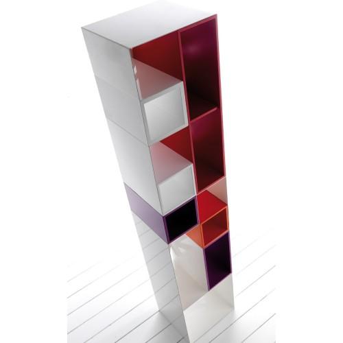 Domino by Esedra libreria componibile in metallo con scaffali in legno