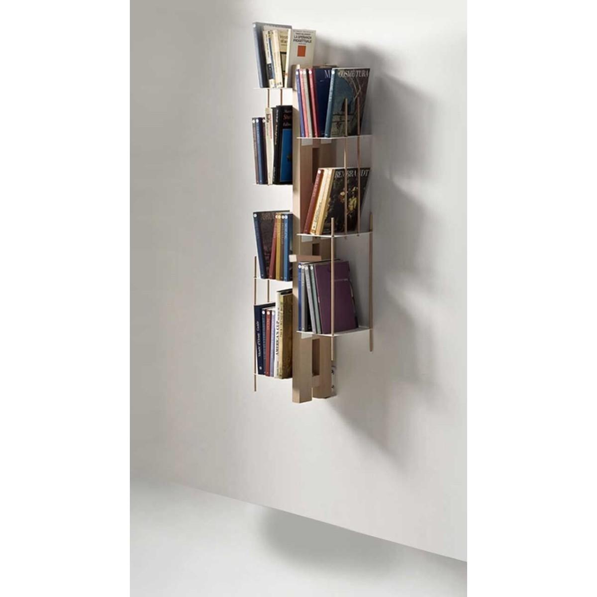 Zia Veronica libreria sospesa a muro in legno e metallo 65 cm