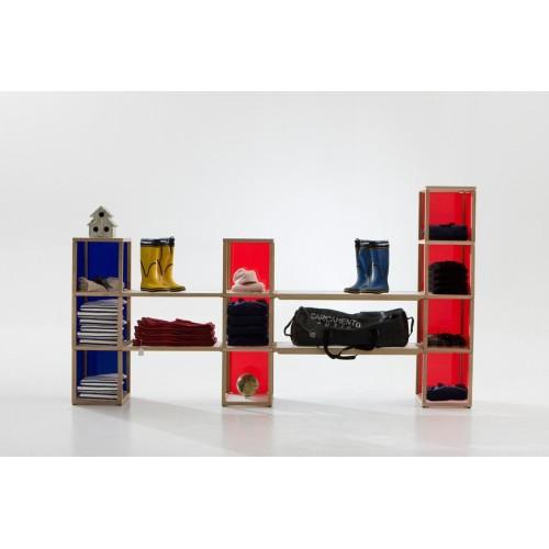 Scaffale per negozio in legno massello e plexiglass Castelli 2