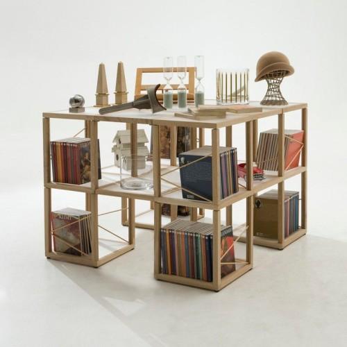 Castelli 7 libreria moderna in legno naturale o nero 100 x 100 x 75 cm