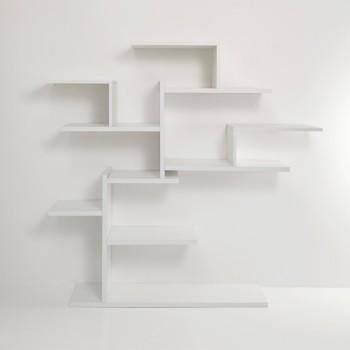 Libreria ad albero da parete in legno bianco 150 x 160 cm Plane Tree