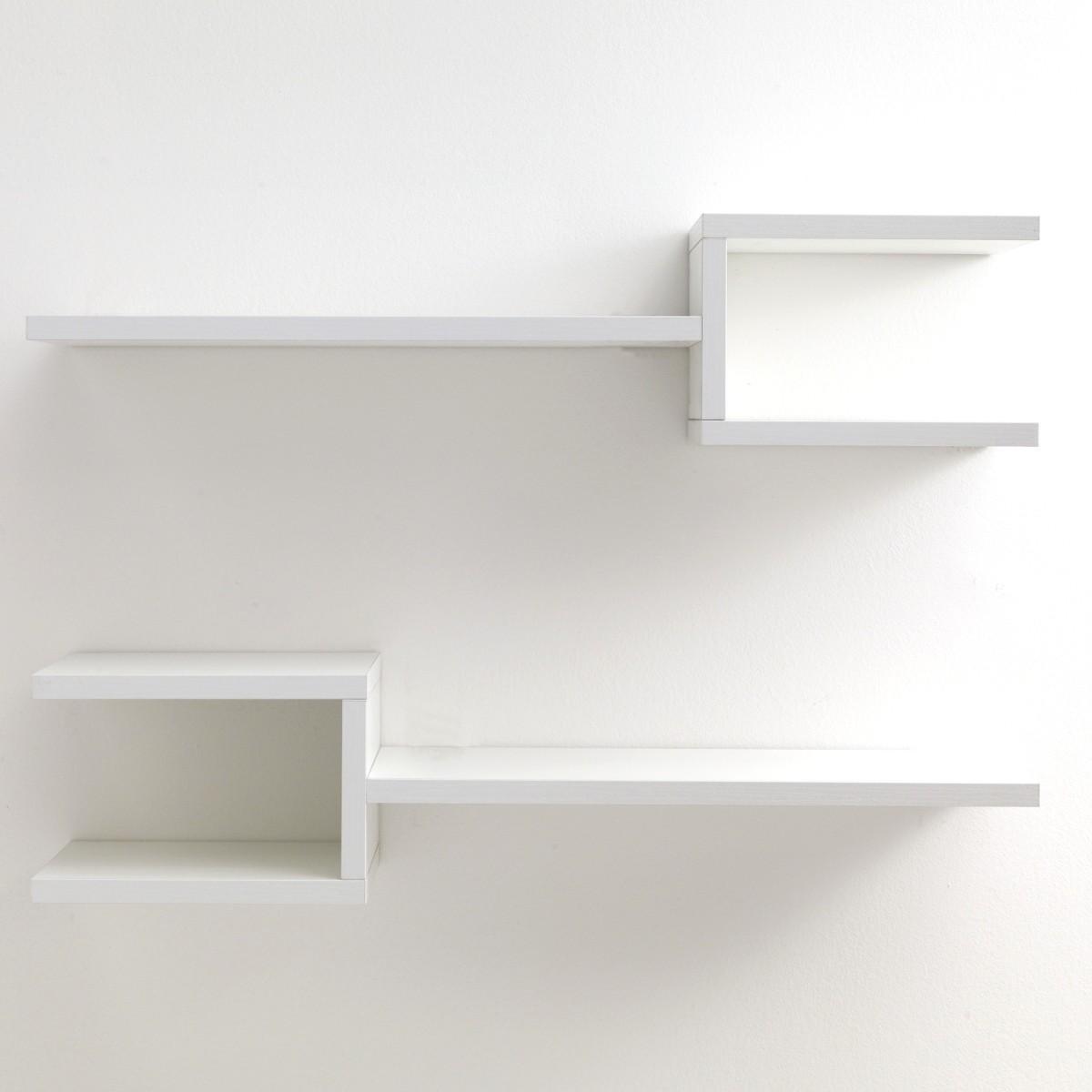 Coppia mensole da parete frequencyb in legno bianco 75 cm for Scritte in legno da parete