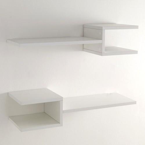 Coppia mensole da parete frequencyb in legno bianco 75 cm - Mensole da parete design ...
