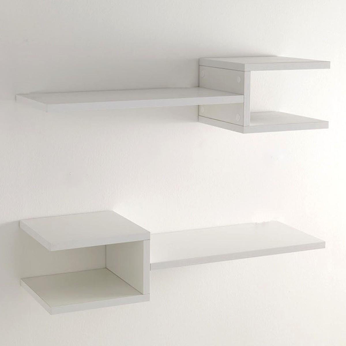 coppia mensole da parete frequencyb in legno bianco 75 cm