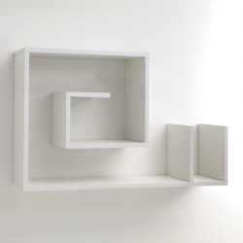 Mensola da parete Karakol B in legno bianco 90 x 56 cm a forma di chiocciola
