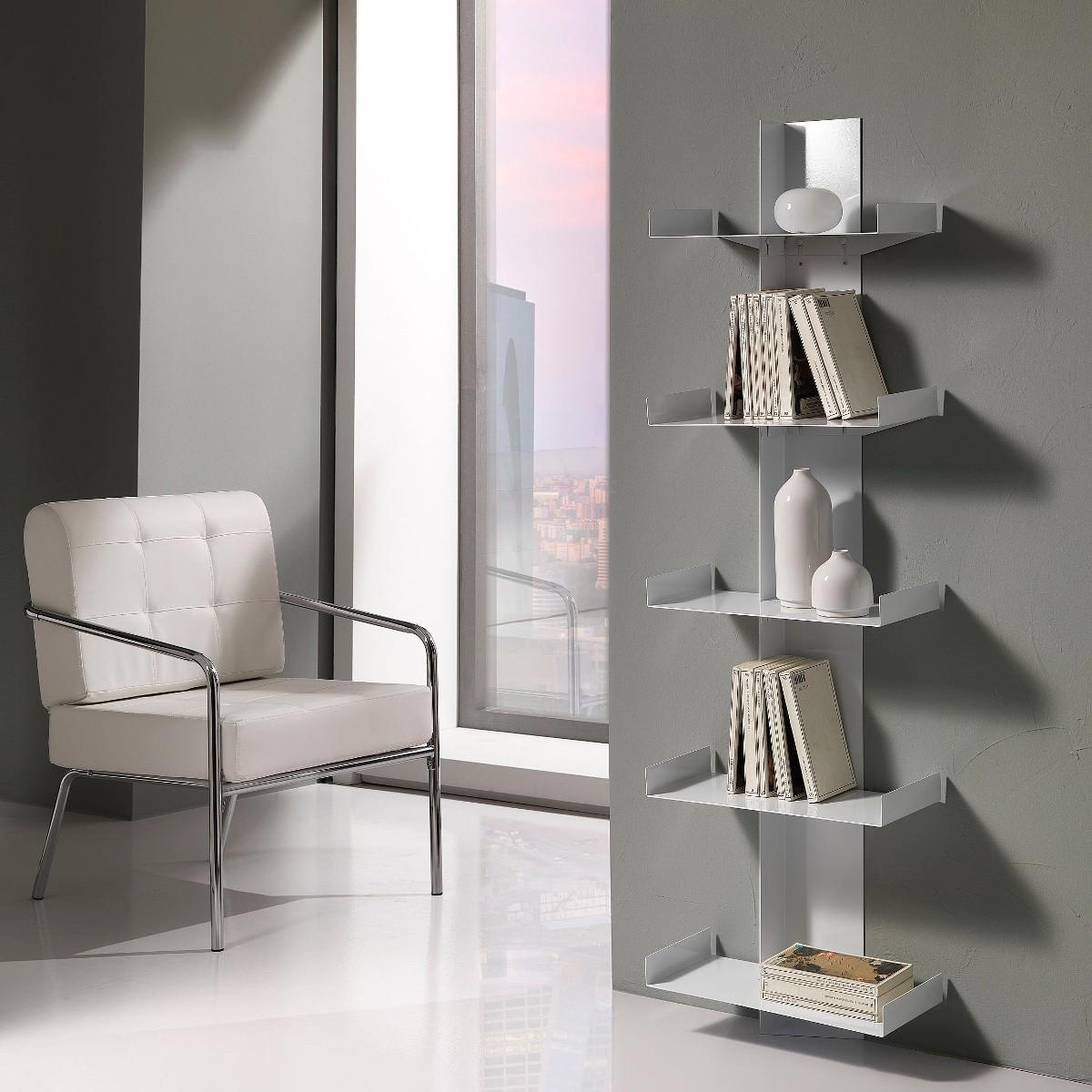Libreria da parete karyn a colonna in metallo 45 x 160 cm - Libreria a parete ...