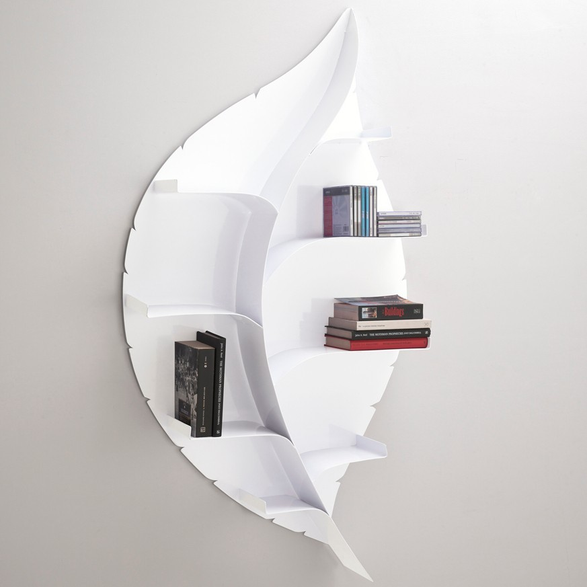 Blatt libreria a parete design moderno in metallo bianca for Librerie di design a parete