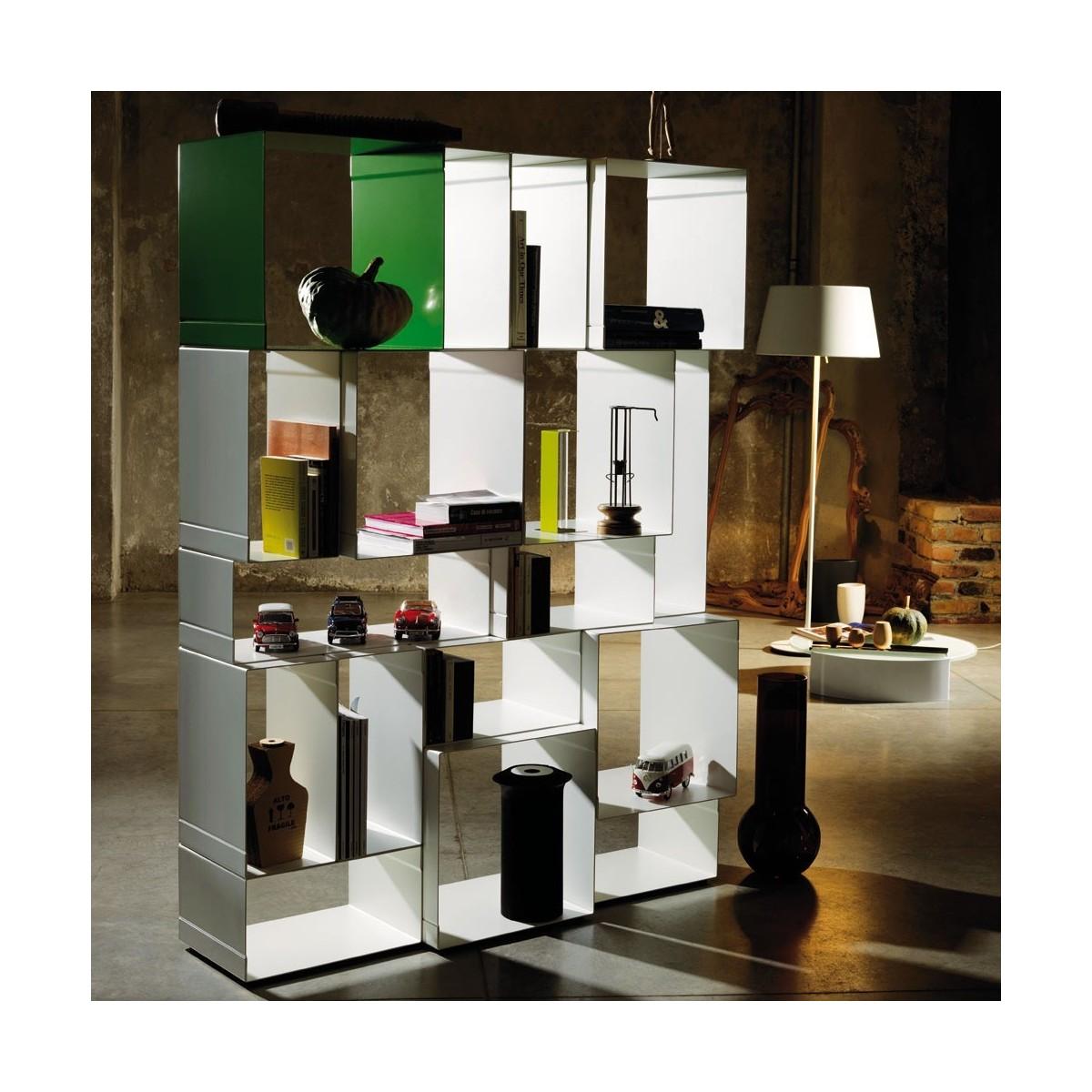Libreria scaffalatura modulare in acciaio kubica for Libreria acciaio e vetro