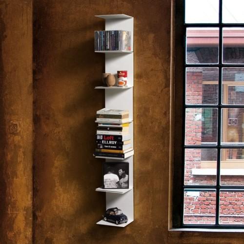 Libreria MotusMentis Ghost da parete in acciaio bianco 20 x 130 cm