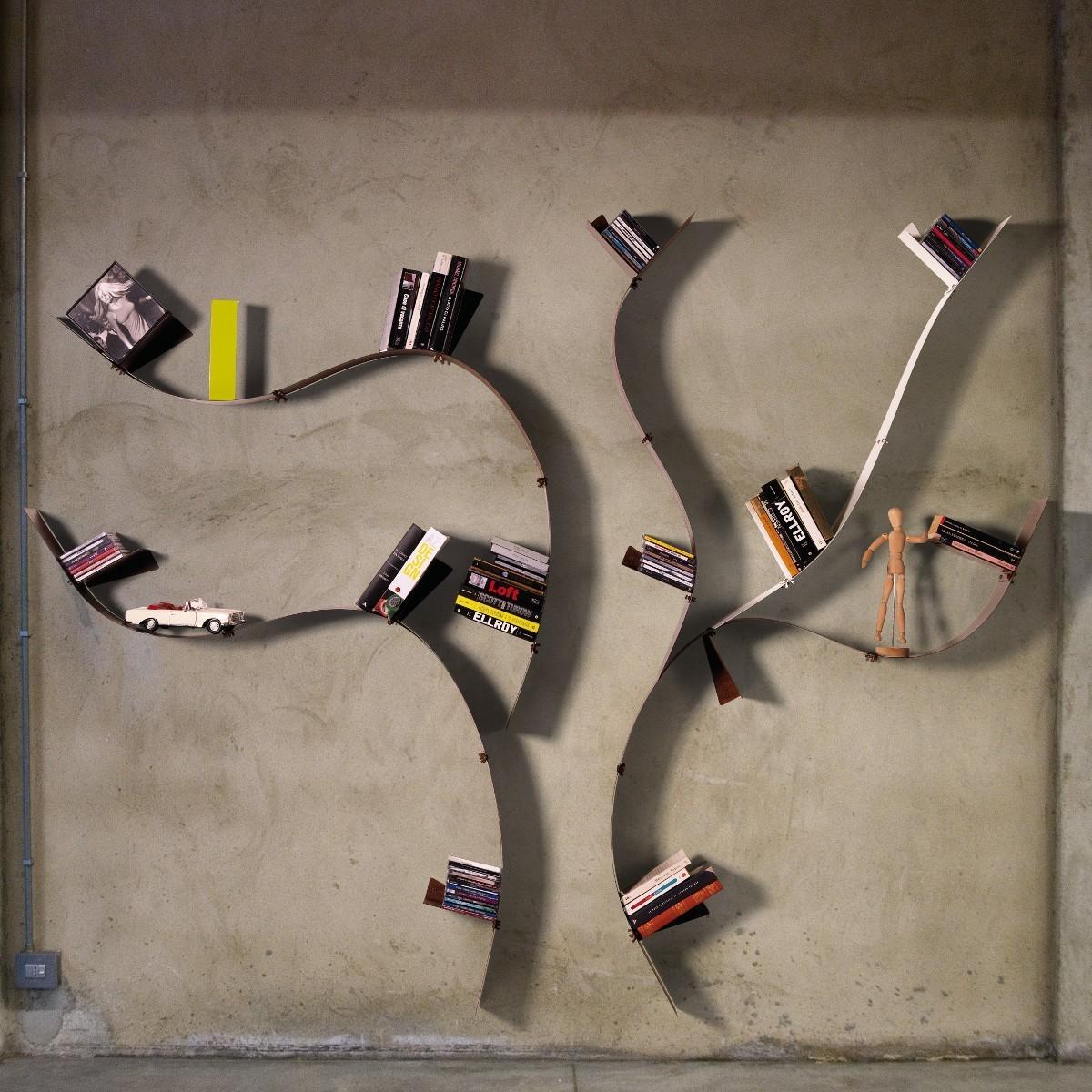 Libreria da parete wallboarding a in acciaio a forma di albero - Libreria a parete ...