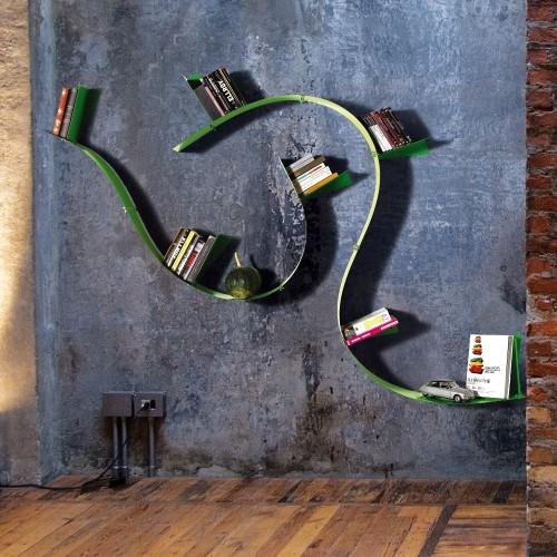 Libreria flessibile WallboardingB Motusmentis in acciaio verniciato
