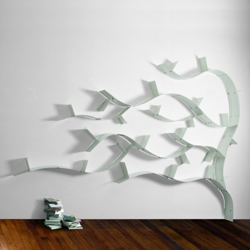 Libreria ad albero WallboardingC in acciaio con mensole flessibili