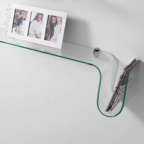 Mensola a parete Albert in vetro curvato trasparente 90 cm