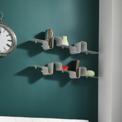Mensola moderna a parete in metallo bianco Britney