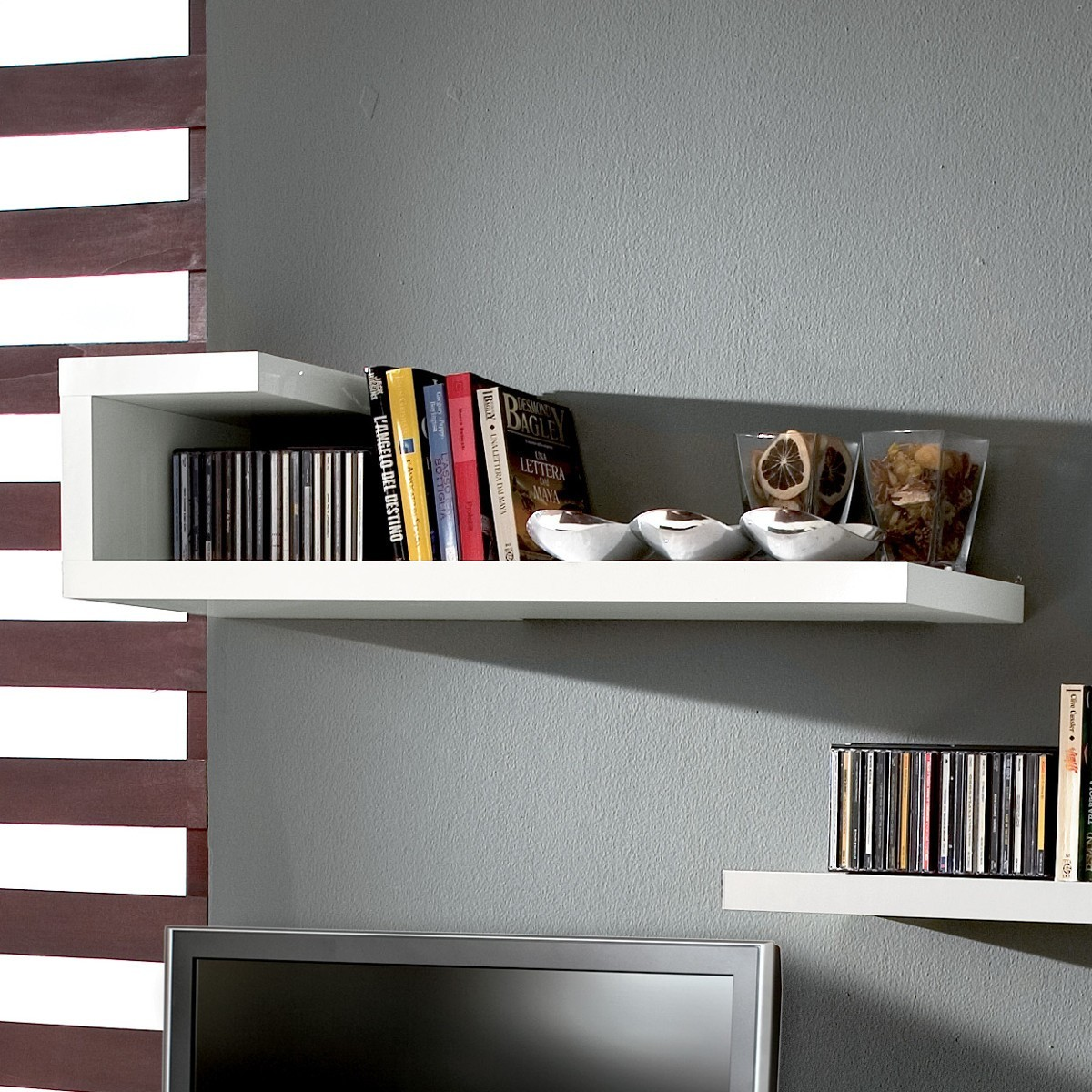 Mensole In Vetro Bianco.Mensola Design Laccata Bianco Lucido Gilmar
