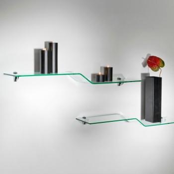 Boa set mensole in vetro curvato trasparente 100 cm Bolis Italia