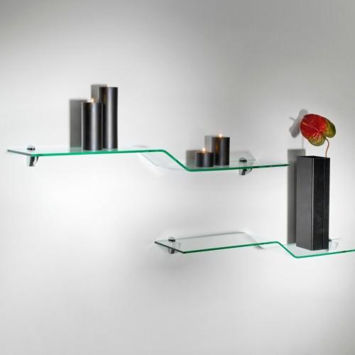 Set mensole in vetro curvato trasparente 100 cm Boa