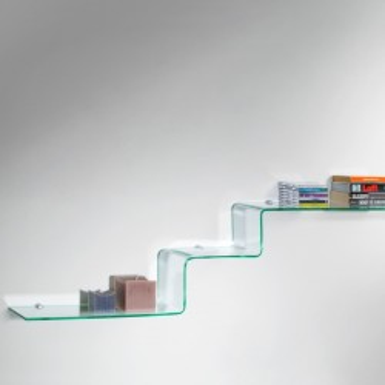 Mensole Moderne Laccate.Mensole Design In Vetro Curvato Trasparente 100 Cm Step