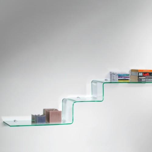 Mensole design in vetro curvato trasparente 100 cm Step